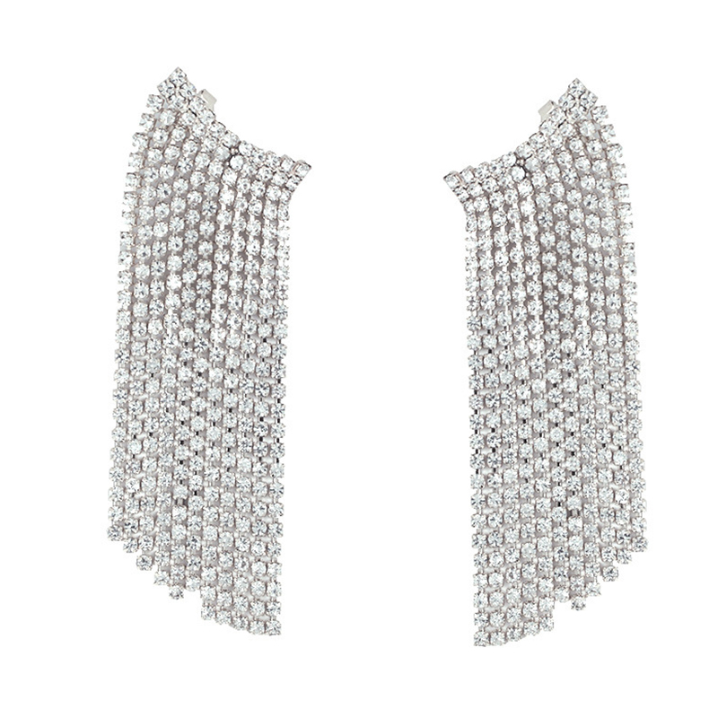 Lovely Trendy Tassel Design White Alloy Earring