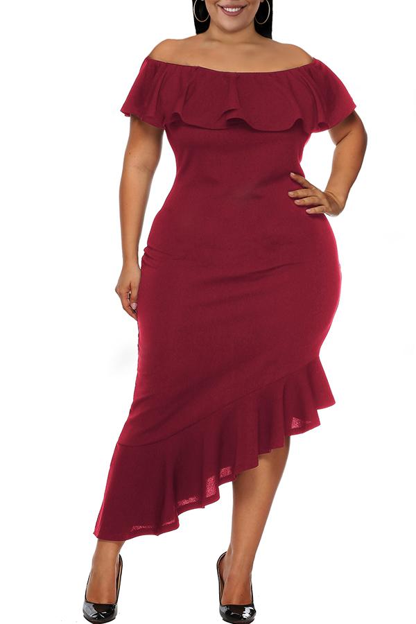 Lovely Casual Asymmetrical Flounce Design Purplish Red Ankle Length Dress