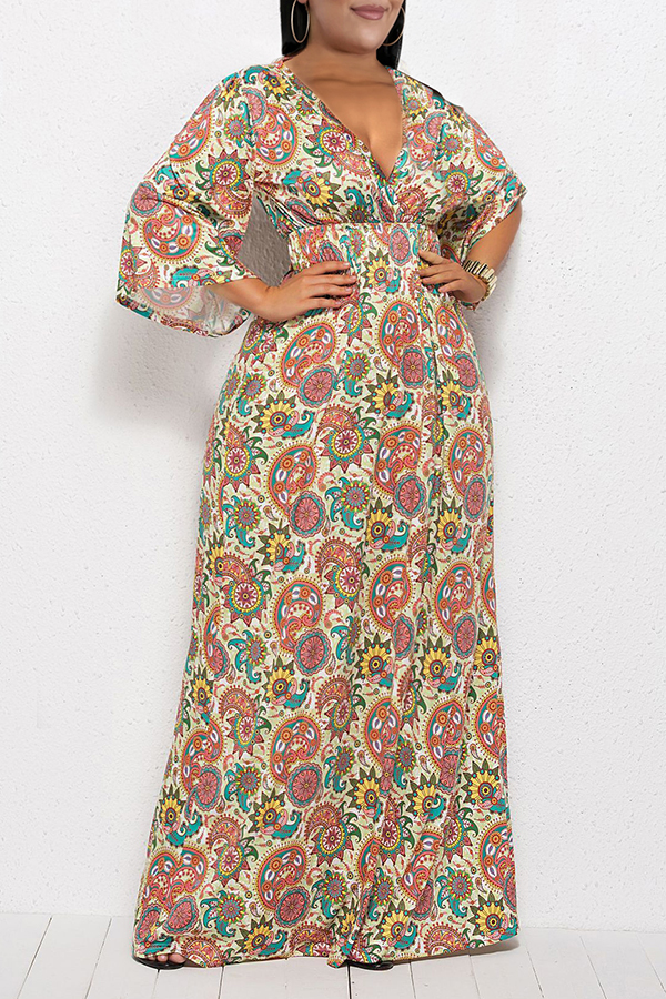 Lovely Casual V Neck Floral Printed Croci Ankle Length Plus Size Dress