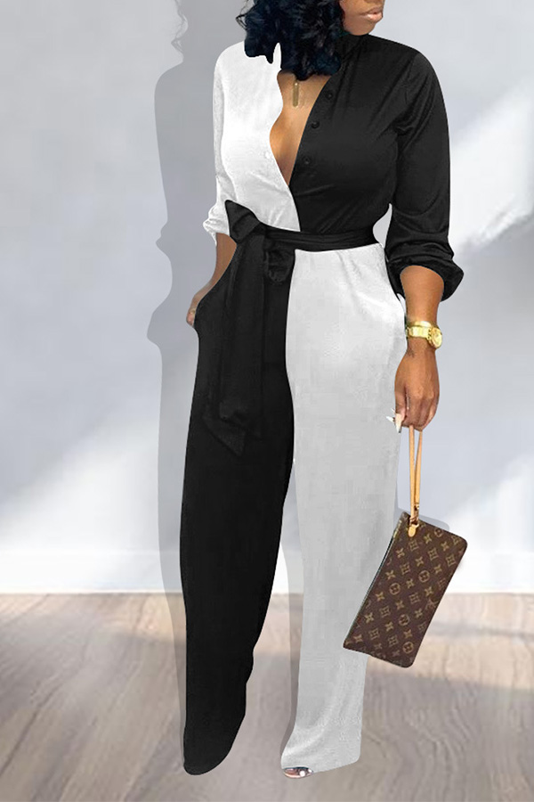 Lovely Work Patchwork Black And White One-piece Jumpsuit