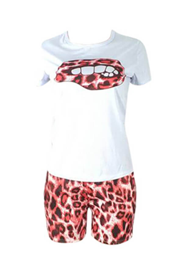 Lovely Casual Printed Red Two-piece Shorts Set