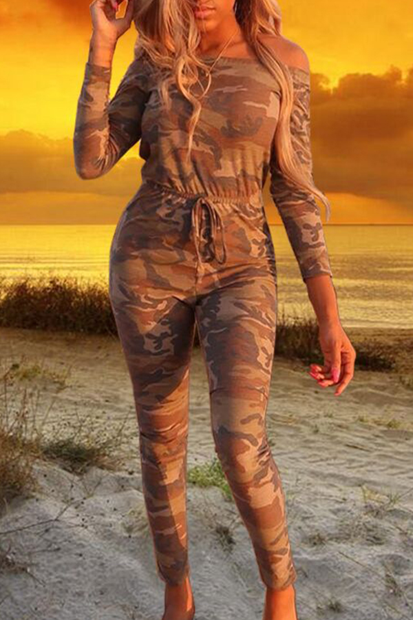 Lovely Casual Camouflage Printed Brown One-piece Jumpsuit