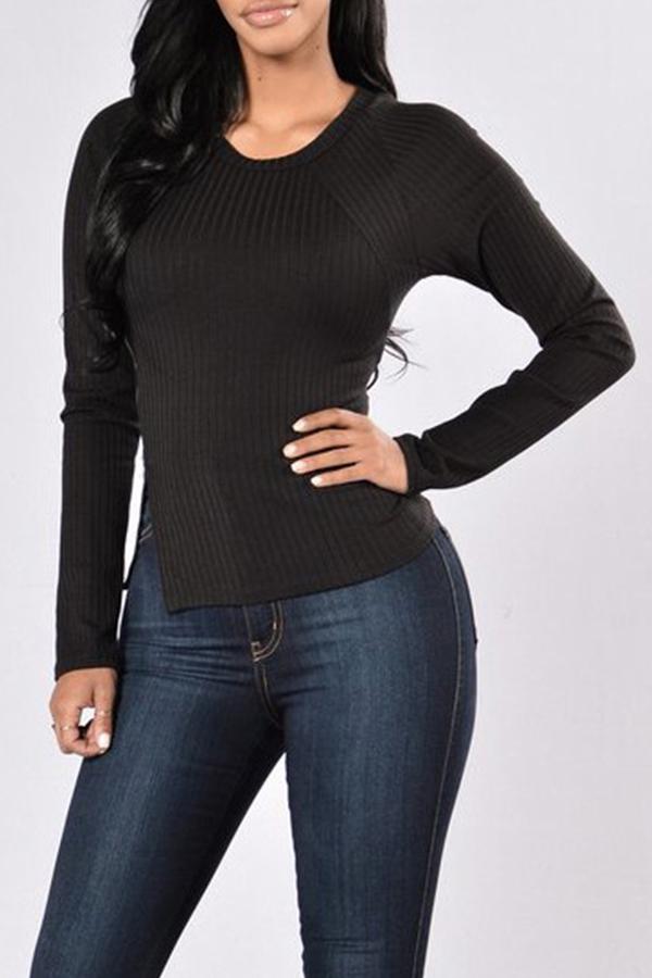 Lovely Casual O Neck Side Slit Black T-shirt