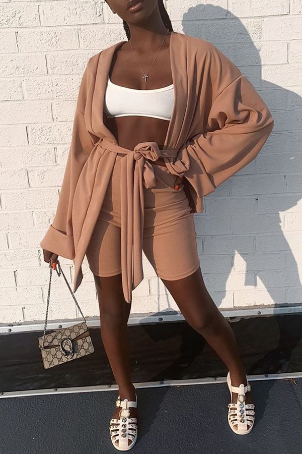 Lovely Casual Lace-up Caramel Color Two-piece Shorts Set