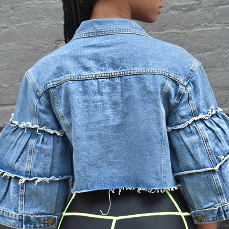 Lovely Casual Raw Edge Blue Denim Jacket