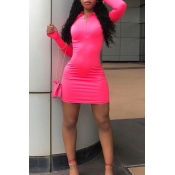 Lovely Casual Zipper Design Pink Mini Dress
