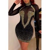 Lovely Sexy Hot Drilling Decorative Patchwork Black Mini Dress