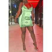 Lovely Trendy Sleeveless Green Mini Dress