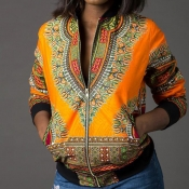 Lovely Casual Printed Yellow Jacket