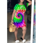 Lovely Casual Tie-dye Green Mini Dress