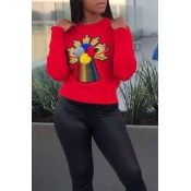 Lovely Leisure Patchwork Red Sweaters