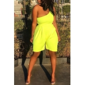 Lovely Casual One Shoulder Yellow One-piece Romper