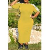 Lovely Casual Patchwork Yellow Mid Calf Plus Size