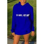 Lovely Casual Hooded Collar Blue Mini Dress