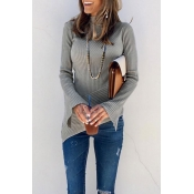 Lovely Striped Asymmetrical Grey Sweaters