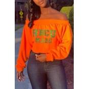 Lovely Casual Letter Printed Orange Sweatshirt Hoo