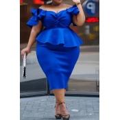 Lovely Casual Flounce Design Blue Knee Length Plus