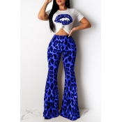 Lovely Casual Lip Printed Blue Two-piece Pants Set