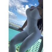 Lovely Sportswear Backless White One-piece Jumpsui