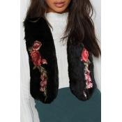 Lovely Casual Embroidered Design Black Vests