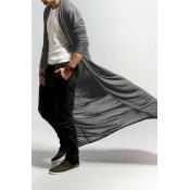 Lovely Trendy Grey Long Trench Coats