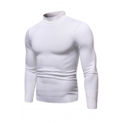 Lovely Casual Half A Turleneck White Sweaters