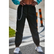 Lovely Polyester Casual Solid Straight Mid Zipper