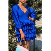 Lovely Chic Flounce Design Royal Blue Mini Dress