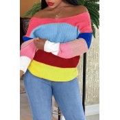 Lovely Casual Color-lump Patchwork Red Sweaters