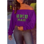 Lovely Casual Letter Printed Purple Sweatshirt Hoo