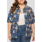 Lovely Leisure Floral Printed Blue Plus Size Blous