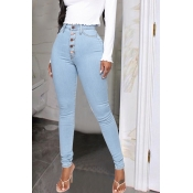 Lovely Chic Buttons Design Baby Blue Jeans