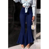 Lovely Stylish High Waist Zipper Design Deep Blue