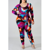 Lovely Trendy Tie-dye Rose Red Plus Size One-piece