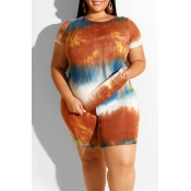 Lovely Casual O Neck Printed Orange Plus Size Two-