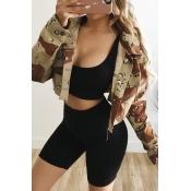 Lovely Trendy Turndown Collar Camouflage Printed J