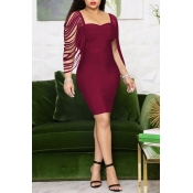 Lovely Trendy Hollow-out Wine Red Knee Length Dres