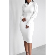 Lovely Casual Turtleneck Ruffle Design White Knee