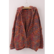 Lovely Leisure Hooded Collar Multicolor Cardigans
