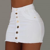 Lovely Casual Buttons Design White Mini Skirt