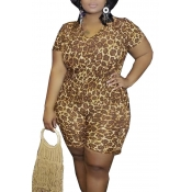 Lovely Casual Printed Coffee Plus Size Two-piece S