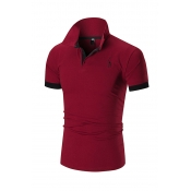 Lovely Casual  Patchwork Red Polo Shirt