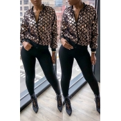 Lovely Casual Sequined Decorative Brown Coat
