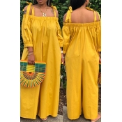 Lovely Leisure Lace-up Loose Yellow One-piece Jumpsuit
