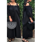 Lovely Leisure Lace-up Loose Black One-piece Jumpsuit