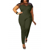 Lovely Casual Patchwork Green Plus Size One-piece