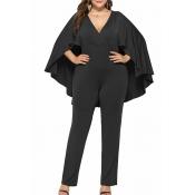Lovely Casual Cloak Design Black Plus Size One-pie