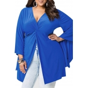 Lovely Casual V Neck Blue Plus Size Blouse
