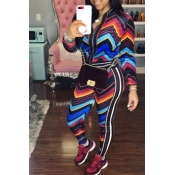 Lovely Casual Printed Multicolor Two-piece Pants S