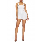 Lovely Casual Buttons Decorative White One-piece R
